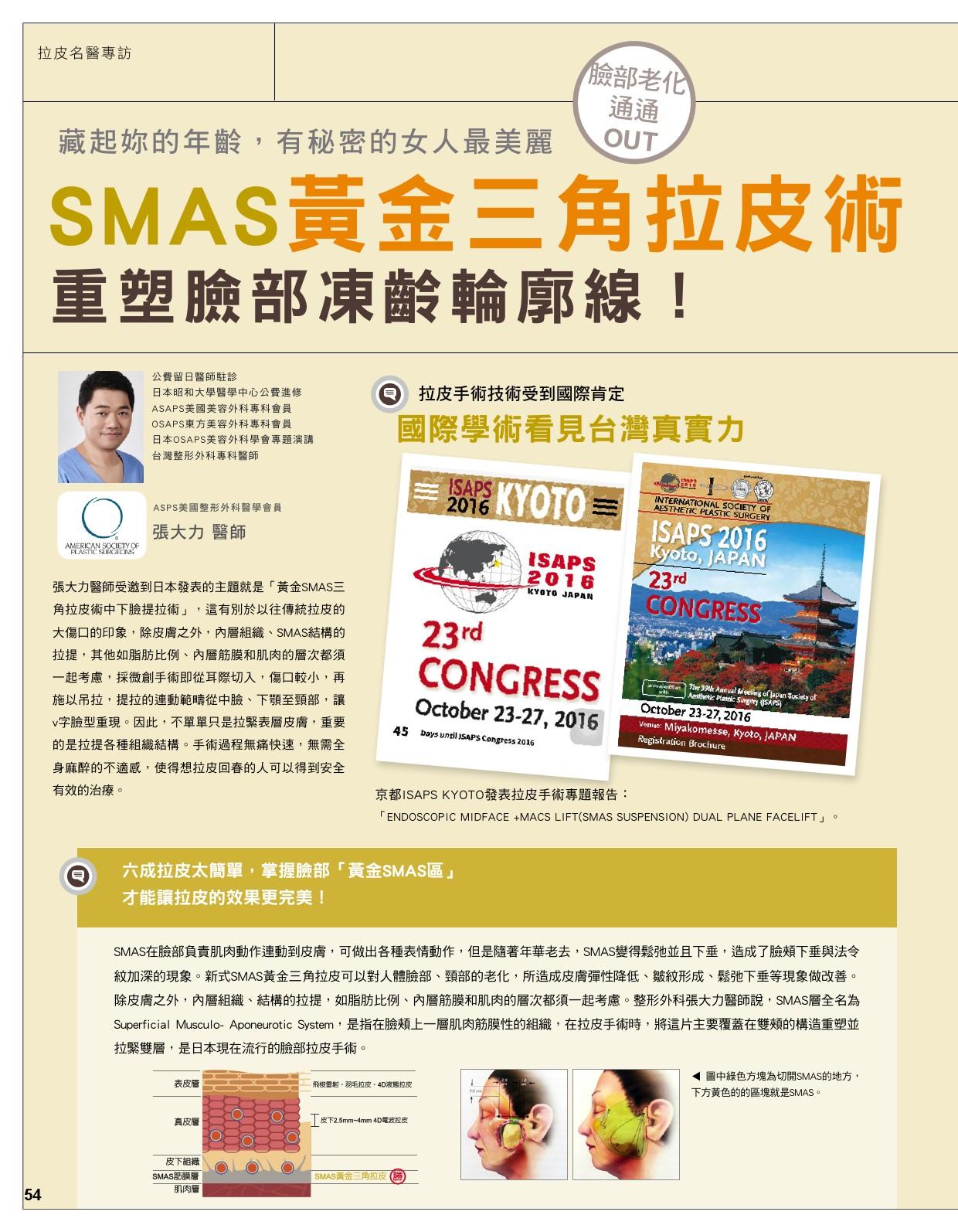 SMAS黃金三角拉皮 重塑臉部凍齡輪廓線-雜誌專訪-張大力-整形名醫-東京風采